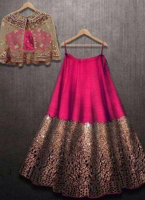 Pink Taffeta Velvet Silk Embroidery Lehenga