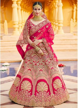 Pink Velvet Bridal Lehenga Choli
