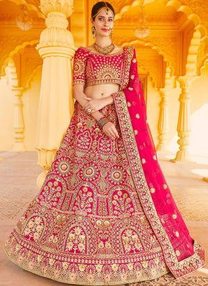 Pink Velvet Designer Lehenga Choli