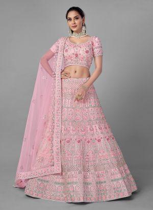Pink Zarkan Work Lehenga In Soft Net Fabric