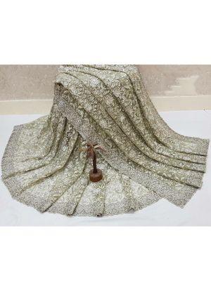 Pista Thread Work Naylon Mono Net Wedding Traditional Saree With Blouse