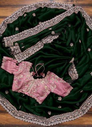Pleasing Green Multi Work Saree
