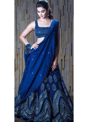 Pooja Hegde Dark Blue Embroidered Designer Lehenga Choli