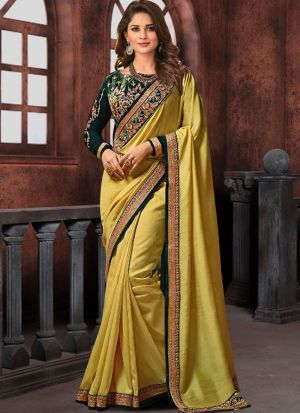 Prachi Desai Bollywood Repilca Lemon Yellow Moss Chiffon Georgette Designer Saree