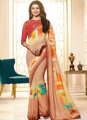 Prachi Desai Bollywood Repilca Peach Print Georgette Designer Saree
