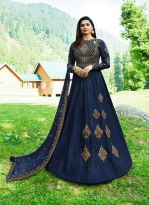 Prachi Desai Style Royal Blue Embroidered Anarkali Suit
