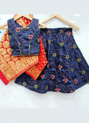 Preferable Navy Blue Kit Kat Silk Girls Lehenga Choli