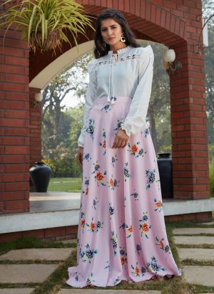 Preferable Powder Pink Printed Skirt