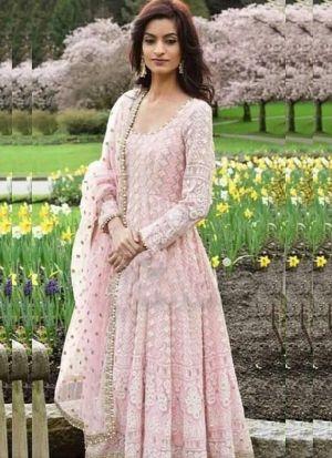 Pretty Look Baby Pink Chain Stitch Salwar Suit