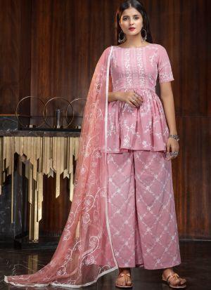 Pretty Look Pink Stylish Festive Wear Salwar Suit