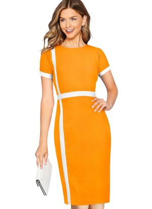 Pretty Look Yellow Stretchable Dress