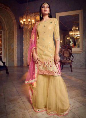 Pretty Mirror Work Beige Salwar Suit
