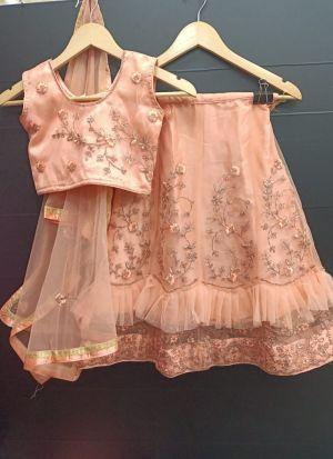 Pretty Peach Net Frill Layered Kids Lehenga Choli