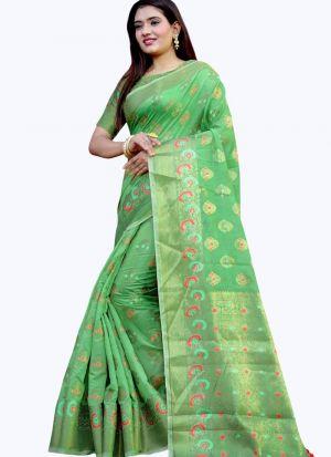 Pretty Pista Green Lichi Silk Saree