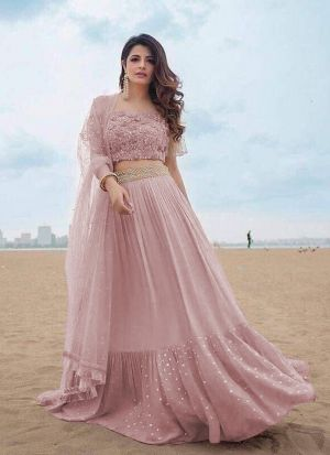 Pretty Powder Pink Zari Embroidered Georgette Lehenga Choli
