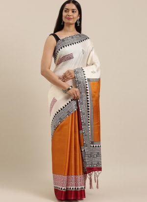 Printed Multi Color Art Silk Saree