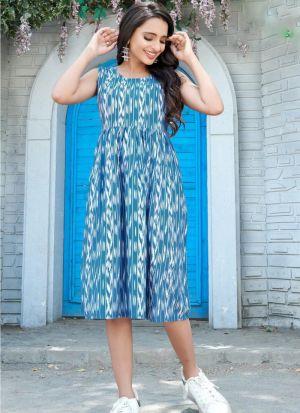 Printed Rayon Light Blue Kurti
