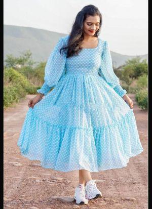 Printed Sky Blue Georgette Dress