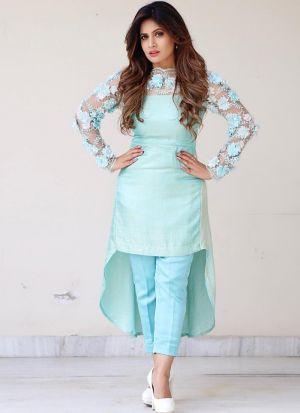 Prominent Sky Blue Chain Stitch Salwar Suit