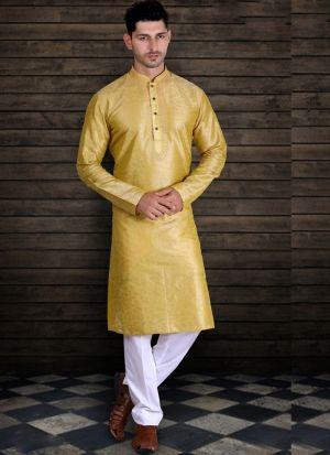 Pure Art Silk Yellow Kurta Pajama