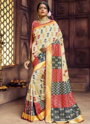 Pure Banarasi Silk Beige Indian Saree Collection