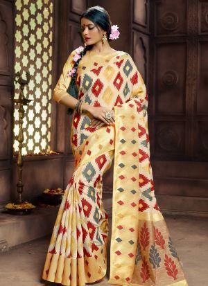 Pure Banarasi Silk Multi Color Traditional Designer Saree Collection