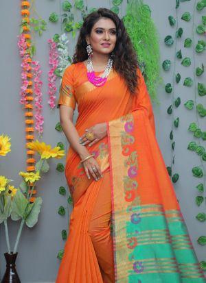 Pure Cotton Silk Orange Traditional Saree