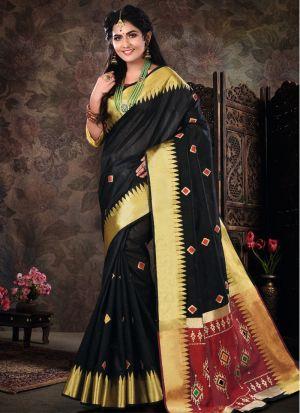 Pure Crystal Silk Black Latest Wedding Saree Collections