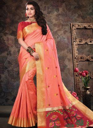 Pure Crystal Silk Dark Peach Indian Saree Collection