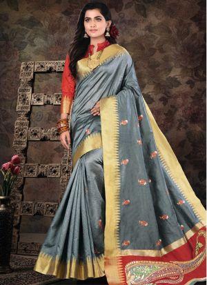 Pure Crystal Silk Grey Traditional Designer Saree Collection