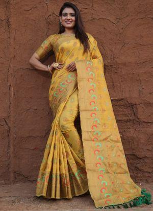 Pure Lichi Silk Yellow Jacquard Saree