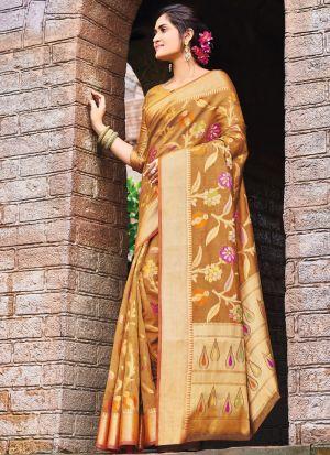 Pure Silk Mustard Latest Wedding Saree Collections