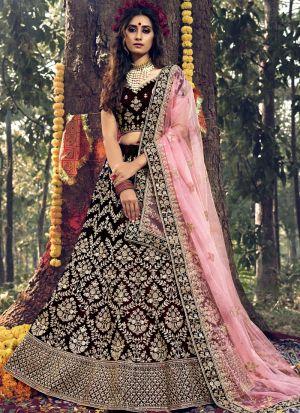 Pure Velvet Maroon Designer Wedding Lehenga Choli