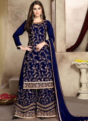 Pure Viscose Upada Silk Blue Admire Palazzo Style Salwar Suit