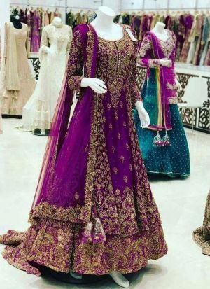 Purple Faux Georgette Bridal Lehenga Choli For Wedding