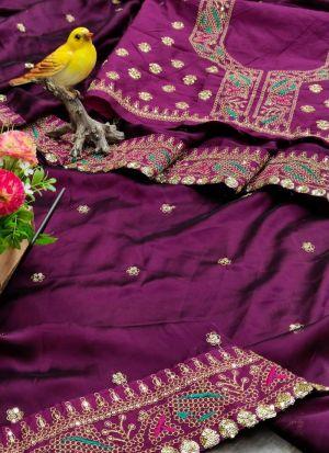 Purple Mushroom Silk Thread Work Saree