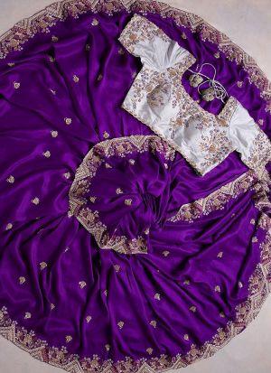 Purple Organza Silk Embroidery Saree