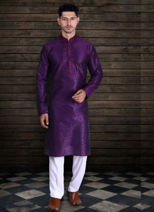 Purple Pure Art Silk Long Kurta Pajama