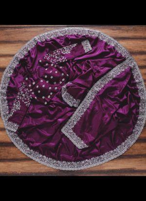 Purple Taffeta Silk Thread Work Stylish Saree