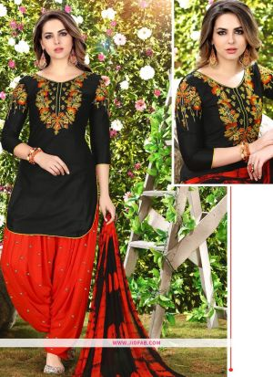Queen Of Patiyala 8012 Black Glaze Cotton Designer Salwar Suit