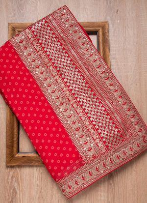 Rajwadi Silk Red Embroidery Saree