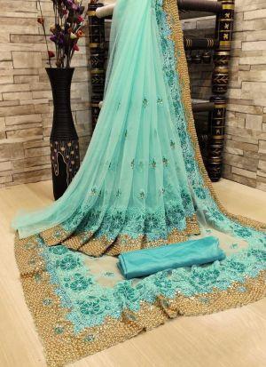 Rama Embroidery Work Wedding Saree