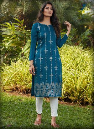 Rama Green Embellished Work Long Sleeves Kurti