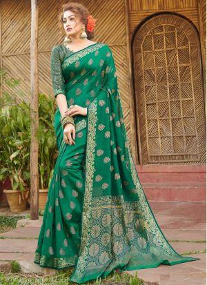Rama Handloom Silk Fabric Traditional Wear Fancy Saree