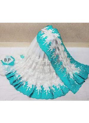 Rama Heavy Embroidery Net Party Wear Designer Saree