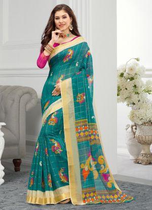 Rama South Indian Cotton Designer Saree