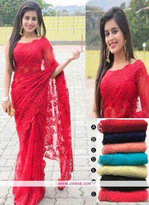 Rani Embroidered Work Soft Net Partywear Saree