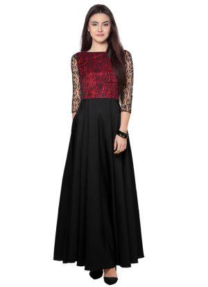 Rasal Net Black Anarkali Gown