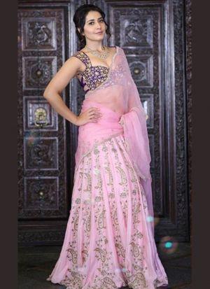 Rashi Khanna Pink Taffeta Silk Lehenga Choli