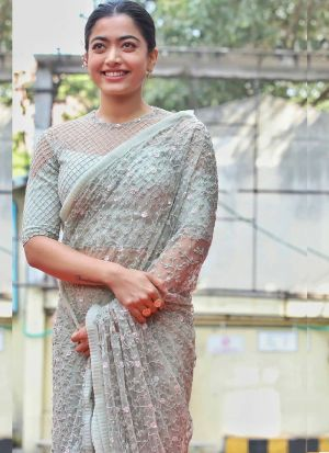 Rashmika Mandanna Pastle White Butterfly Mono Net Saree